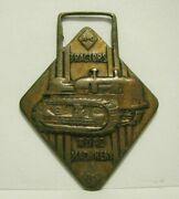 Allis Chalmers Tractor Division Hd21 Crawler Advertising Brass Pocket Watch Fob