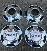 4 Four Gmc 4x4 Truck Dog Dish Hubcaps 1/2 Ton 73-87 15 Driver Condition Oem