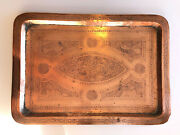 """Antique 1920s - Etched Egyptian Copper On Tin Tray Hand Chased Animals 18""""x12.5"""""""