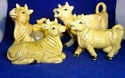 Vintage Cows Four 4, Sugar, Creamer And Salt And Pepper Shakers - Made In Japan