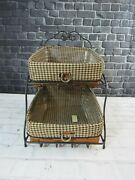 Longaberger 2008 Sort And Store Rich Brown Tapered Paper Tray Wrought Iron Stand
