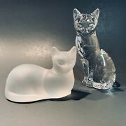 Lenox Crystal Prim Proper Cats Pair Figurines Lead Crystal Clear Frosted 1993