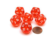 Translucent 20mm D20 Chessex Dice 6 Pieces - Orange-red With White Numbers
