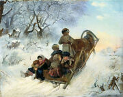 Wonderful Oil Painting Happy Family And Children On The Horse-drawn Sleigh Winter