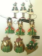 Lot Of 9 Chicoand039s Christmas Metal Ornaments Cat Owl Bird Frog