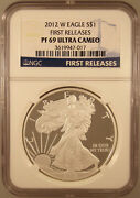 2012-w 1 Silver American Eagle Pr-69 Ucam First Releases Ngc Certified