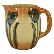 Roseville Pottery 1910-16 Early Ware Arts And Crafts Blue Tulip Pitcher