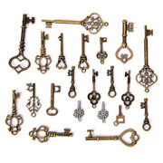50g/set Antique Bronze Vintage Old Key Charms Pendants Diy Jewelry Findings Uth4