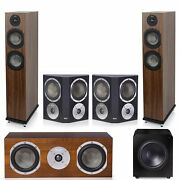 Klh Concord 5.1 Complete System Walnut Veneer With Klh Stratton 12 Powered