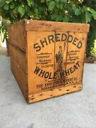 Large Early Vintage Wooden Crate Shredded Wheat Niagara Falls New York Wood Box
