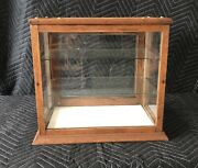 Antique Oak Counter Top Display Case W/ Two Glass Shelves And One Door
