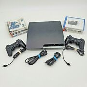 Sony Playstation 3 Ps3 Slim 160gb Console Bundle Lot 10 Games Tested Cech-2501a