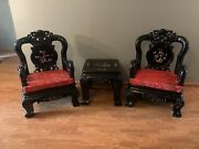 Pair Of Oriental Chinese Throne Lounge Chairs Living Room Inlaid Carved W Table