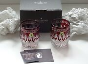 2 Waterford Crystal Clarendon Double Old Fashioned Tumbler Glasses Ruby Red