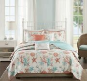 Quilted Full/queen Set By Madison Park Pacific Grove Coral Cotton Sateen