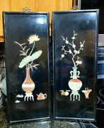 Vintage Asian Black Wooden Wall Plaques Pair