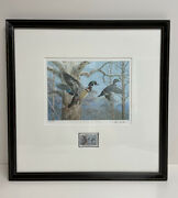 Ned Smith Signed Le Framed Waterfowl Management Print/stamp 17 X 17 516