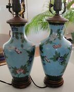 Pair Of Antique Vintage Japanese Chinese Cloisonne Lamps Sky Blue Chrysanthemums