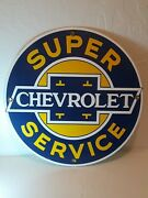 Porcelain Chevrolet Super Service Sign 11 3/4andrdquo Ex Cond. Not Ande Rooney