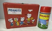 Peanuts Vintage Red Vinyl Lunchbox 60's With Metal Thermos