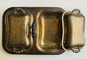 Vintage English Silver Mfg Corp Silver-plate Tray With 2 Ornate Lids