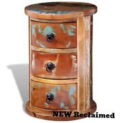 Antique Storage Cabinet Wood Curved 3 Drawers Display Home Country Furniture 18