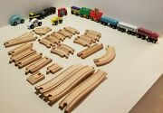 Melissa And Doug Train Set Wooden Magnetic Engine Assorted Cars 24 Pcs Track
