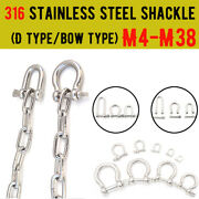 M4 M6 M8 M10 To M38 Safety Chain D Shackle Stainless Steel Grade 316 Bow Shackle