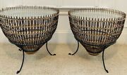 Pair Auth 1960s Franco Albini Fish Trap Basket Wicker Iron Glass Side End Tables