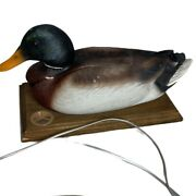 Vintage Phone Mallard Duck Decoy On Wooden Base Untested As Is