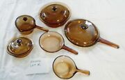 Vintage Visions Cookware 10 Pc Lot Corning Pyrex Amber Glass Pots And Pans Lids K