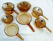 Vintage Visions Cookware 12 Pc Lot Corning Pyrex Amber Glass Pots And Pans Lids M