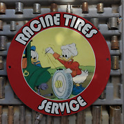 Vintage Racine Tires Service And039and039donald Duck Elvira Cootand039and039 Porcelain Gas-oil Sign