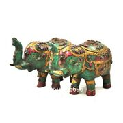 China Copper Inlay Turquoise Feng Shui Wealth Auspicious Elephant Statue Pair