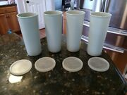 Tupperware Set Of 4 16 Oz Straight Side Tumblers 107 Grey New Nos