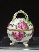 Antique 18thc Ludwigsburg Porcelain Trinket Box With Twisted Handle Roses