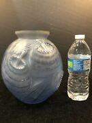 """Rare Sabino France 8.5"""" Ice Blue Art Deco Glass Vase Flowers Leaves Perfect"""