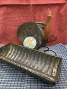 Antique Tin Cake Pan, Sieve And Repro Star Pan And Wire Candle Holder