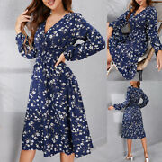 ❤️ Womens Floral Wrap V-neck Midi Dress Ladies Holiday Party Long Sleeve Dresses