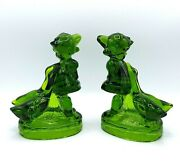 Vintage L.e. Smith For Hummel Goose Girl Glass Figurine Emerald Green Bookends