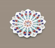 White Snacks Or Dessert Bowl Christmas Gift Marble Inlay Floral Bowl Diwali Gift