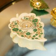 White Marble Top Candle Holder Malachite Inlay Art Antique Leaf Shape Home Décor
