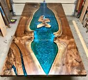 Wooden Acacia Epoxy Resin Blue Dining Conference Center Table Top Handmade Decor