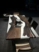 Epoxy Resin River Black And White Dark Wood Acacia Center Dining Table Top Decor