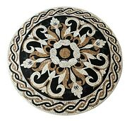 49x49 Marble Round Inlaid Mosaic Work Dining Table Top Christmas Gifts