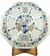 15x15 White Marble Coffee Top Table Filigree Lapis Inlay Art Christmas Gift