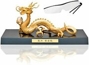 Made In Japan-great Luck Feng Shui Golden Dragon-with A Crystal Ball To Make Wis