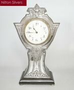 Antique Art Nouveau Silver Fronted Mantel Clock, Charles Green And Co, B'ham 1909