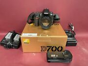 Nikon D700 Camera W/ 50mm Nikon Lens 2 Chargers Vertical Power Grip And Box