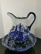 Xl Victoria Ware Ironstone Flow Blue Pitcher And Wash Basin Bowl Set Free Ship